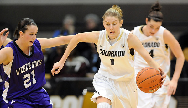 "Lexy Kresl of CU dribbles past Megan Patterson of Weber State in the Buffalo win.<br /> For more photos of the game, go to  <a href=""http://www.dailycamera.com"">http://www.dailycamera.com</a>.<br /> December 17, 2011 / Cliff Grassmick"