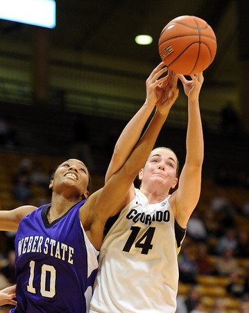 "Meagan Malcolm-Peck of Colorado battles with Shawnte Taylor of Weber State.<br /> For more photos of the game, go to  <a href=""http://www.dailycamera.com"">http://www.dailycamera.com</a>.<br /> December 17, 2011 / Cliff Grassmick"