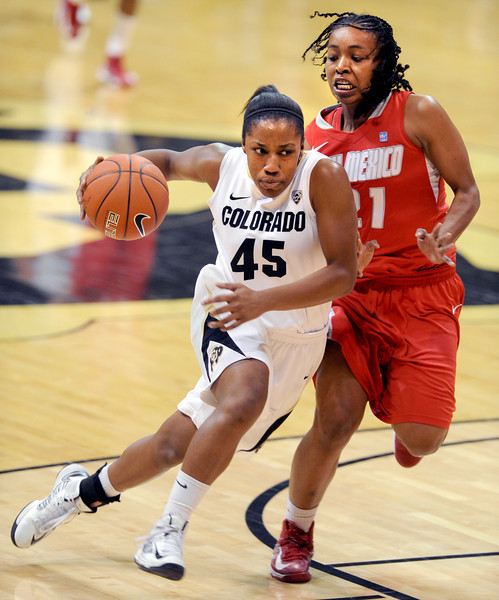 "Ky Weston of CU drives past Jayme Jackson of New Mexico on Saturday.<br /> For more photos of the game, go to  <a href=""http://www.dailycamera.com"">http://www.dailycamera.com</a>.<br /> Cliff Grassmick / December 29, 2012"
