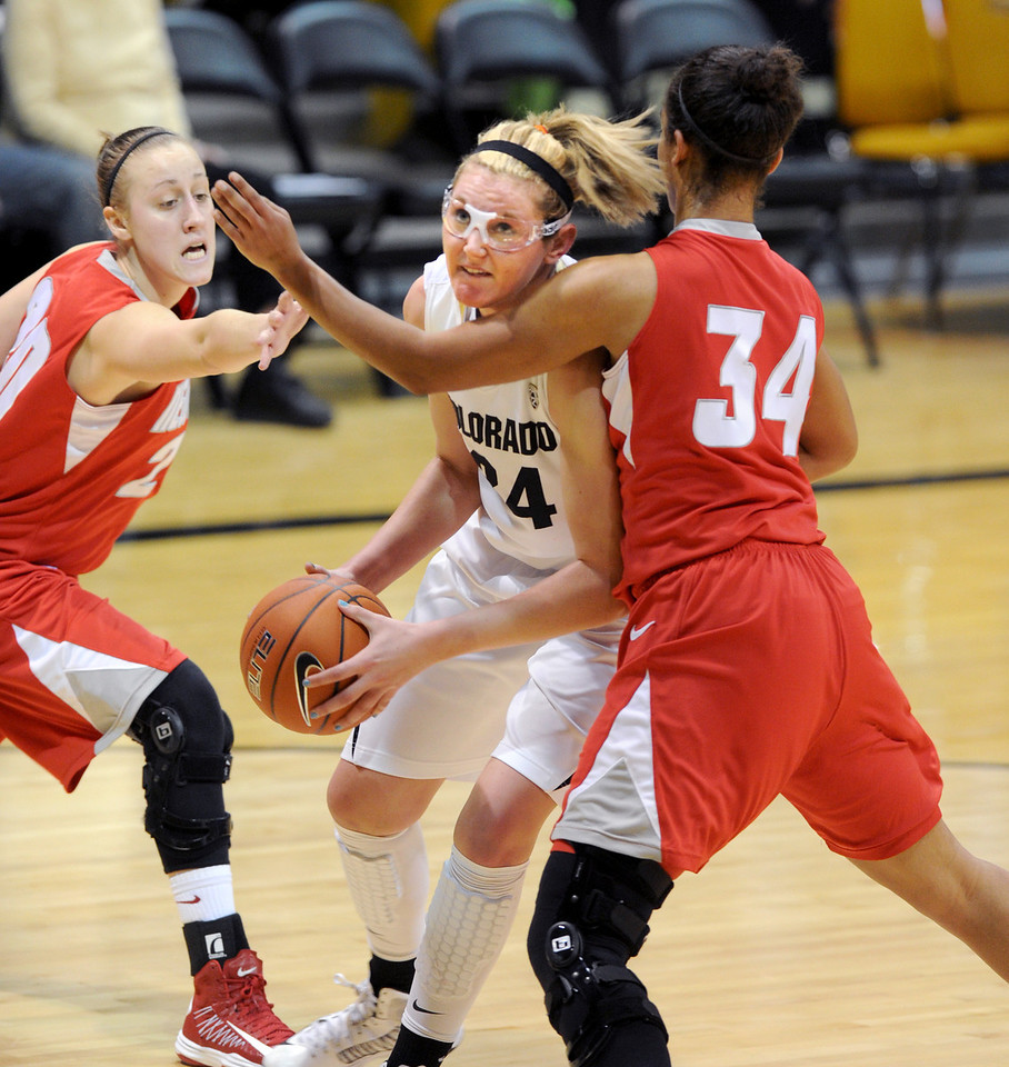 "Jen Reese of CU, tries to move on Whitney Johnson of UNM during the first half of the December 29, 2012 game in Boulder.<br /> For more photos of the game, go to  <a href=""http://www.dailycamera.com"">http://www.dailycamera.com</a>.<br /> Cliff Grassmick / December 29, 2012"