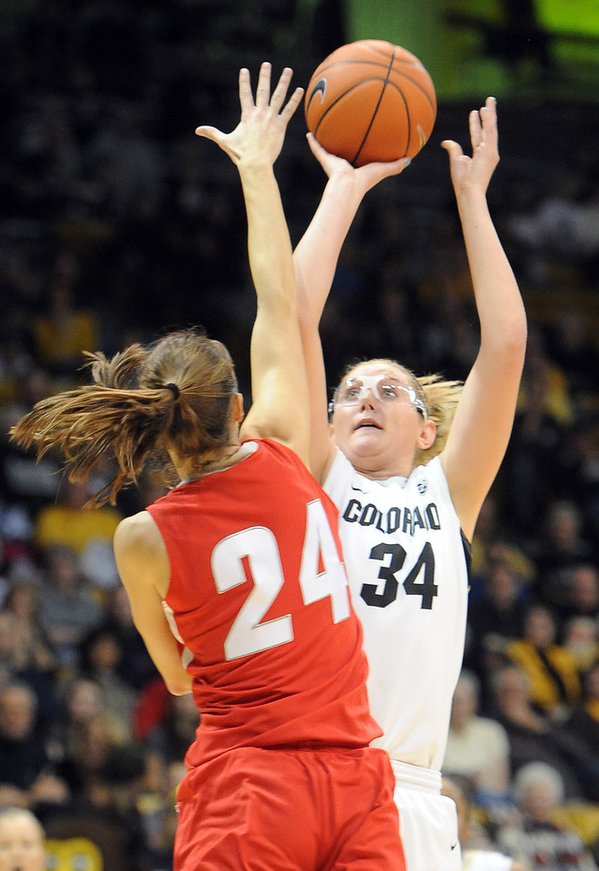 "Jen Reese shoots over Caroline Durbin of UNM, during the first half of the December 29, 2012 game in Boulder.<br /> For more photos of the game, go to  <a href=""http://www.dailycamera.com"">http://www.dailycamera.com</a>.<br /> Cliff Grassmick / December 29, 2012"