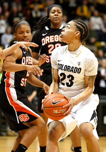 Chucky Jeffery, 23, charges down the court  during  C.U. vs. Oregon State woman's basketball game at C.U. Boulder Saturday, March, 3, 2012.