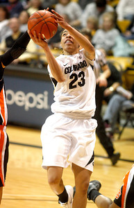 Chucky Jeffery, 23, jumps for a lay-up during the C.U. vs. Oregon State woman's basketball game at C.U. Boulder Saturday, March, 3, 2012.
