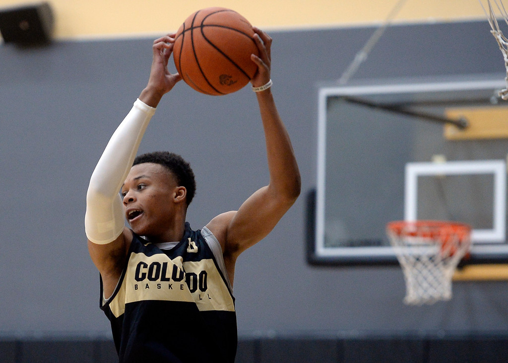 . BOULDER, CO: University of Colorado\'s   Shane Gatling gets a rebound  during the first practice for the CU men\'s team on October 2, 2018. ((Photo by Cliff Grassmick/Staff Photographer)
