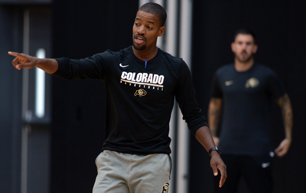 . BOULDER, CO: University of Colorado\'s  assistant coach, Kim English,  during the first practice for the CU men\'s team on October 2, 2018. ((Photo by Cliff Grassmick/Staff Photographer)