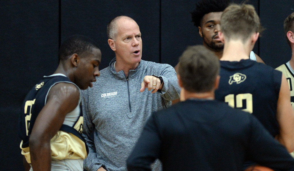 . BOULDER, CO: University of Colorado\'s  head men\'s basketball coach, Tad Boyle, during the first practice for the CU men\'s team on October 2, 2018. ((Photo by Cliff Grassmick/Staff Photographer)