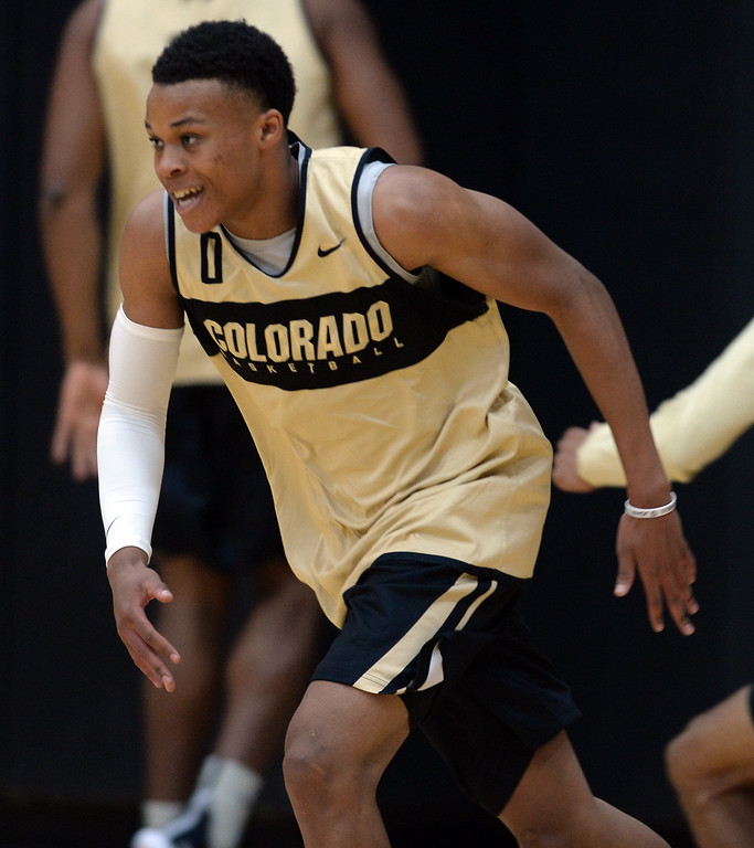 . BOULDER, CO: University of Colorado\'s Shane Gatling  during the first practice for the CU men\'s team on October 2, 2018. ((Photo by Cliff Grassmick/Staff Photographer)