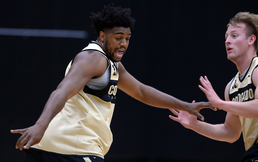 . BOULDER, CO: University of Colorado\'s  Evan Battey, left, and Alex Strating, during the first practice for the CU men\'s team on October 2, 2018. ((Photo by Cliff Grassmick/Staff Photographer)