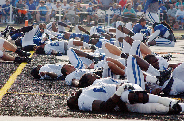 Stretching out before practice.