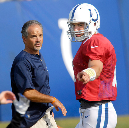 Colts head coach Chuck Pagano and quarterback Andrew Luck discuss a play during practice Friday.