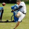 Colts punter Pat McAfee works on kick-offs during Fridays practice.