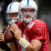 Colts quarterback Andrew Luck works on his foot work while passing.