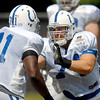 Colts tackle Anthony Castonzo goes through drills Sunday.
