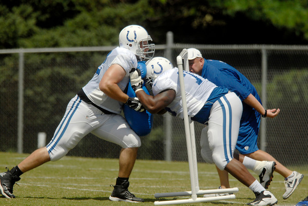 Offensive lineman work against each other.