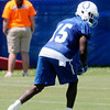 Don Knight | The Herald Bulletin<br /> Wide receiver Phillip Dorsett lines up during a drill on the first day of Colts Camp at Anderson University on Wednesday.
