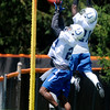 Don Knight | The Herald Bulletin<br /> Mike Adams, left, and Vontae Davis jump to catch the ball during drills on the first day of Colts Camp at Anderson University on Wednesday.