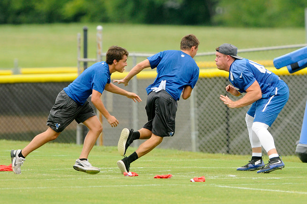 Don Knight   The Herald Bulletin<br /> Practice during Colts Camp at Anderson University on Thursday.