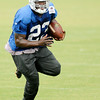 Don Knight | The Herald Bulletin<br /> Running back Frank Gore runs with the ball during Colts Camp at Anderson University on Friday.