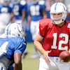 Don Knight | The Herald Bulletin<br /> Quarterback Andrew Luck hands off to running back Josh Ferguson during Colts Camp at Anderson University on Friday.
