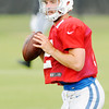 Don Knight | The Herald Bulletin<br /> Quarterback Andrew Luck looks to pass during Colts Camp at Anderson University on Friday.