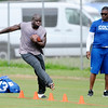 Don Knight | The Herald Bulletin<br /> Running back Frank Gore runs through a series of cones during Colts Camp at Anderson University on Friday.