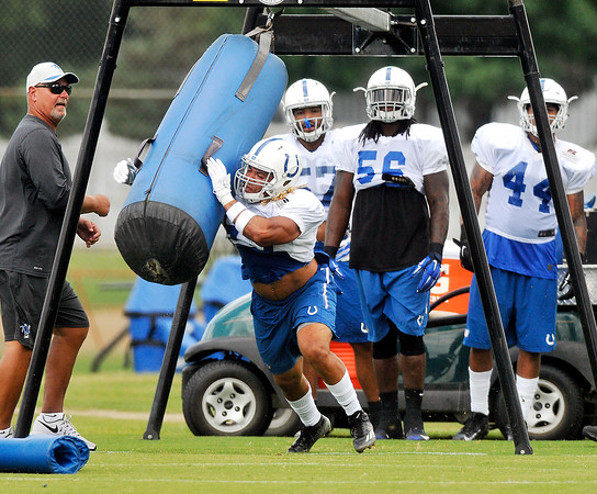 John P. Cleary   The Herald Bulletin<br /> Colts Sunday practice on their 4th day of training camp.