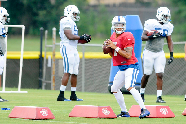 Don Knight   The Herald Bulletin<br /> Colts Camp practice at AU on Wednesday.