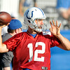 John P. Cleary | The Herald Bulletin<br /> Colts QB Andrew Luck goes through passing drills on the last day of training camp.