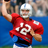 John P. Cleary | The Herald Bulletin<br /> Colts QB Andrew Luck passes the ball during training camp Monday.
