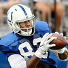 John P. Cleary | The Herald Bulletin<br /> Colts TE Dwayne Allen catches the ball during passing drills Monday at Colts Camp.