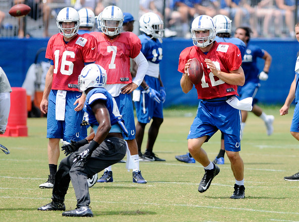 Don Knight   The Herald Bulletin<br /> Colts Camp practice at Anderson University on Tuesday.