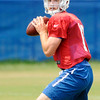 Don Knight | The Herald Bulletin<br /> Quarterback Andrew Luck drops back to pass during Colts Camp practice at Anderson University on Tuesday.