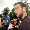 John P. Cleary | The Herald Bulletin<br /> Colts quarterback Andrew Luck talks to the media about the upcoming camp and season as players reported to Anderson for training camp Wednesday.