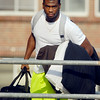 John P. Cleary | The Herald Bulletin<br /> Vick Ballard arrives to Colts Training Camp Wednesday.