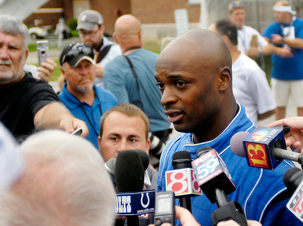 John P. Cleary | The Herald Bulletin<br /> Colts wide receiver Reggie Wayne talks to the media Wednesday about his outlook for training camp after coming off last years injury.