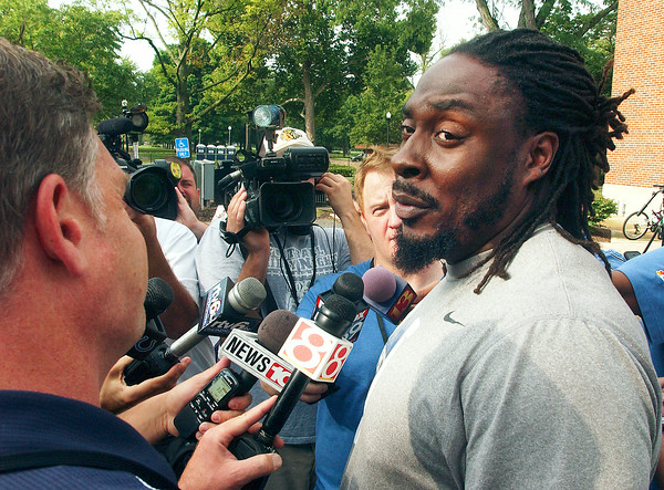 John P. Cleary | The Herald Bulletin<br /> Colts player Ricky Jean Francois talks to the media after arriving to training camp Wednesday morning.