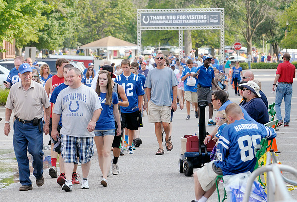Don Knight | The Herald Bulletin<br /> Thousands of fans arrive for the Colts' only night practice in Macholtz Stadium at AU on Thursday.
