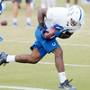 Don Knight | The Herald Bulletin<br /> Tight end Erik Swoope pulls in a pass during Colts practice at AU on Friday.