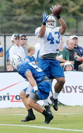 Don Knight   The Herald Bulletin<br /> Colts practice at AU on Friday.
