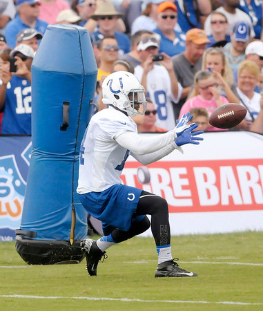 Don Knight/The Herald Bulletin<br /> The Colts held their first public practice on Sunday at Anderson University.