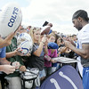 Don Knight | The Herald Bulletin<br /> Colts wide receiver T.Y. Hilton signs autographs after the first day of practice at Colts Camp on Thursday.