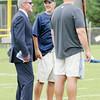 Don Knight | The Herald Bulletin<br /> Colts owner Jim Irsay talks to coach Chuck Pagano and general manager Ryan Grigson after practice Friday at AU.