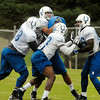 John P. Cleary | The Herald Bulletin<br /> Colts hold morning public practice. Offensive linemen go through drills.