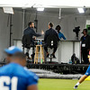 John P. Cleary | The Herald Bulletin<br /> ESPN setup a broadcast studio at the end of one of the Colts practice fields Monday to cover the Colts practice with former Colt Jeff Saturday as one of their commentators, seen on the left in the background.