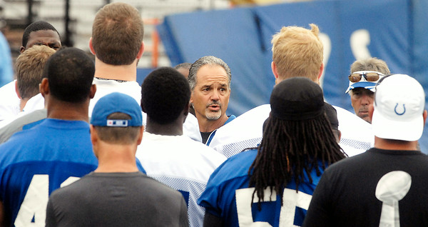 John P. Cleary | The Herald Bulletin<br /> Colts head coach Chuck Pagano addresses the team before practice started Monday morning.