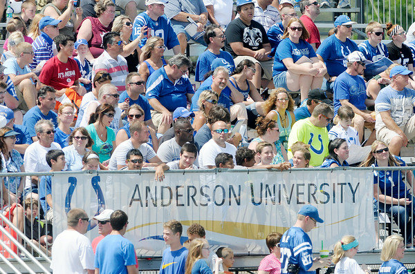Don Knight | The Herald Bulletin<br /> Several fans turned out for Colts practice at AU on Sunday. The Colts wrap up camp in Anderson with their final practice on Wednesday morning.