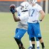 Don Knight | The Herald Bulletin<br />  T.Y. Hilton makes a catch during Colts Camp at AU on Monday.