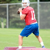 Don Knight | The Herald Bulletin<br /> Andrew Luck looks to throw the ball during Colts Camp practice at AU on Monday.