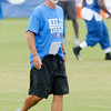 "Don Knight | The Herald Bulletin<br /> Colts head coach Chuck Pagano wears a ""Kelly Tough"" shirt in support of former Bills quarterback Jim Kelly and his battle with cancer during Colts Camp at AU on Monday."