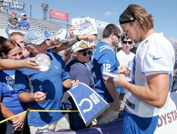 Don Knight | The Herald Bulletin<br /> Coby Fleener signs autographs for fans as Colts Camp at AU closed on Wednesday.